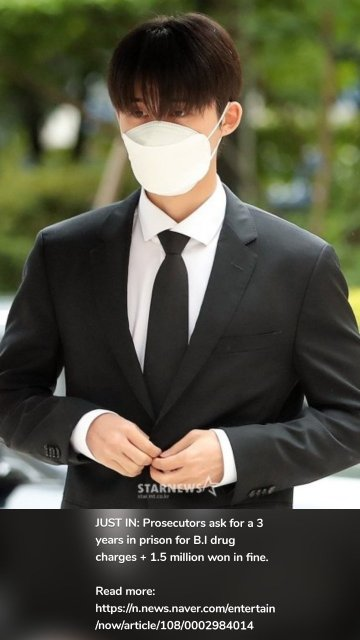 JUST IN: Prosecutors ask for a 3 years in prison for B.I drug charges + 1.5 million won in fine. Read more: https://n.news.naver.com/entertain/now/article/108/0002984014